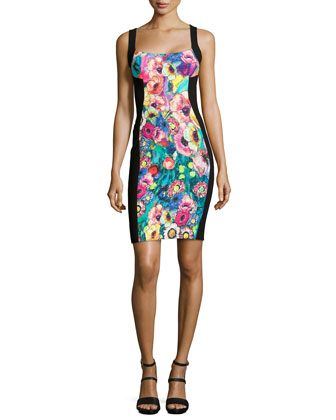 Paneled Floral-Print Bustier Dress