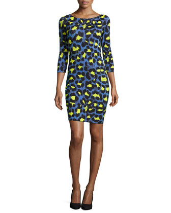 Leopard-Print Jersey Sheath Dress, Bluette