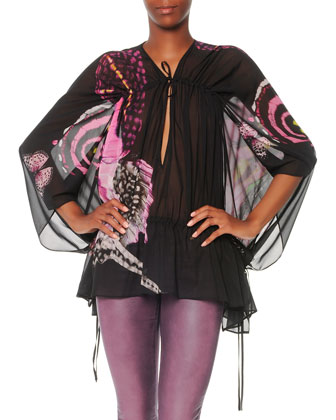 Butterfly-Print Caftan Top
