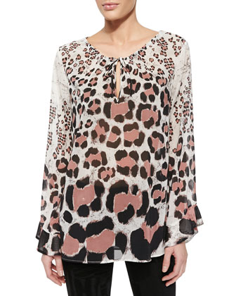 Long-Sleeve Leopard-Print Chiffon Top