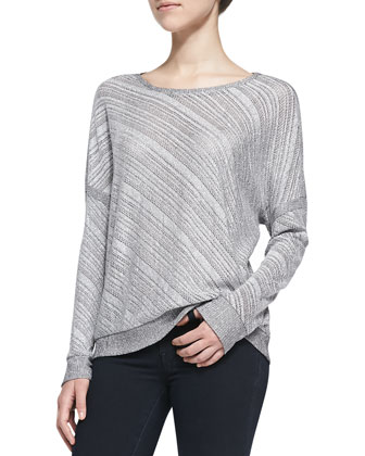 Diagonal Striped Mesh Dolman Top, Silver