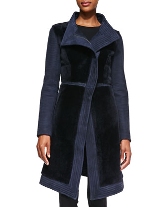 Asymmetric Leather/Shearling Coat