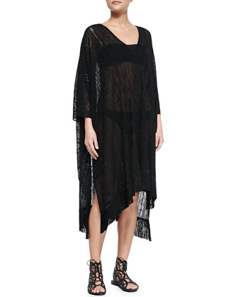 Lace Fringe-Hem Cape Coverup