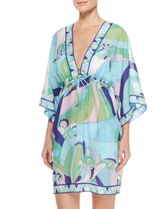 Printed Sheer Chiffon Short Coverup