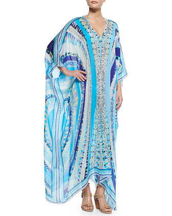 Printed V-Neck Long Caftan Coverup, Blue