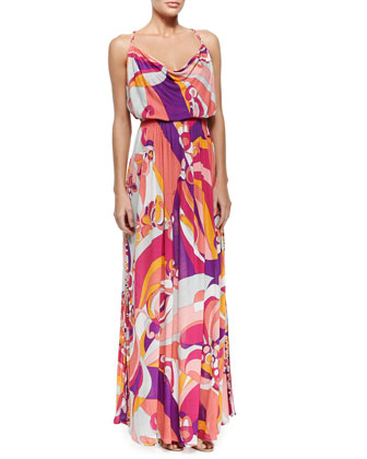 Printed Sleeveless Jersey Maxi Dress