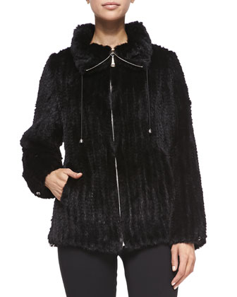 Knitted Mink Fur Bomber Jacket, Black