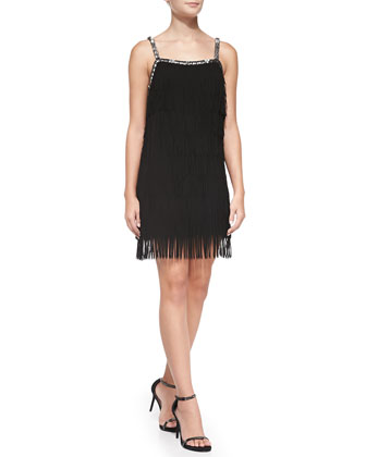 Sleeveless Beaded-Top Fringe Dress