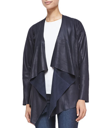 Leather Waterfall Jacket, Navy