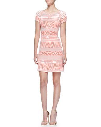 Short-Sleeve Modern Tribe-Print Dress