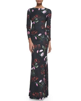 Daphne Long-Sleeve Floral-Print Gown