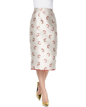 Jenny Floral Jacquard Midi Skirt