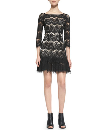 Lace Mini Frock Dress, Black
