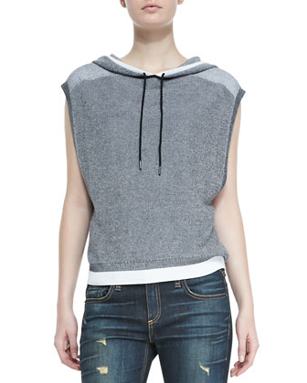 Brenda Cap-Sleeve Knit Hoodie & Dre Distressed Whiskered Slim Jeans