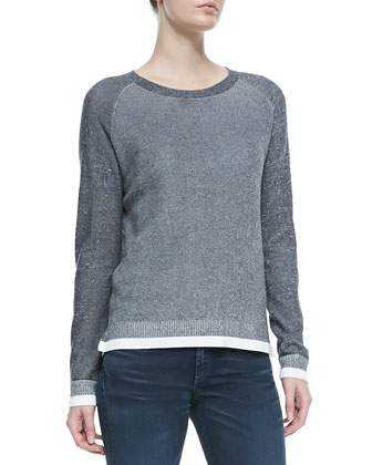 Brenda Combo-Knit Crewneck Sweater & Skinny Mid-Rise Ankle Jeans