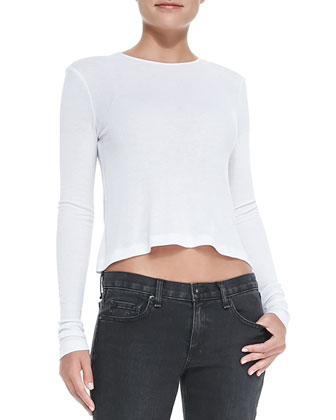 Rai Ribbed Knit Cropped Tee