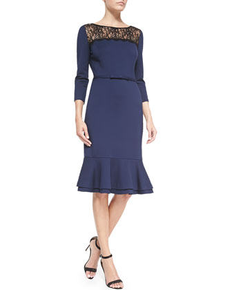 Amelia 3/4-Sleeve Dress W/ Lace Inset