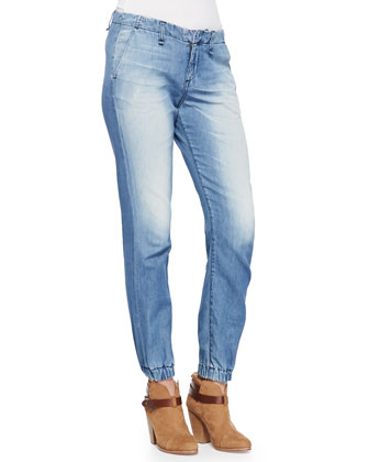Faded Denim Elastic-Cuff Jeans