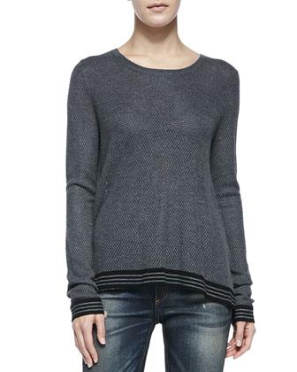 Nikki Split-Back Sweater W/ Striped Trim