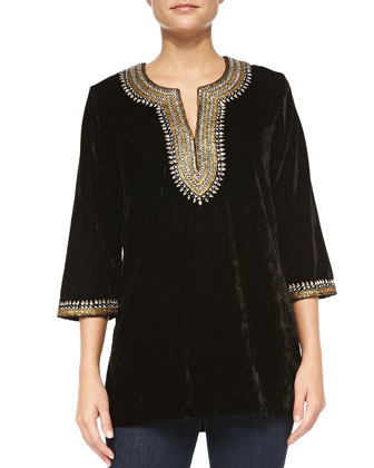 Embellished Velvet Tunic, Women's