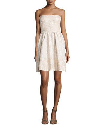 Caroline Strapless Jacquard Cocktail Dress