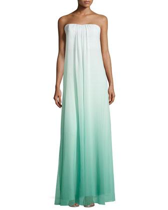 Daria Strapless Ombre Trapeze Gown, Seafoam