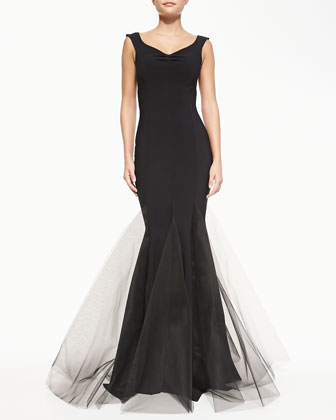 Diva V-Neck Gown with Tulle Hem