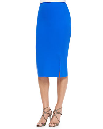 Nuccia Pencil Skirt w/Slit, Cobalt