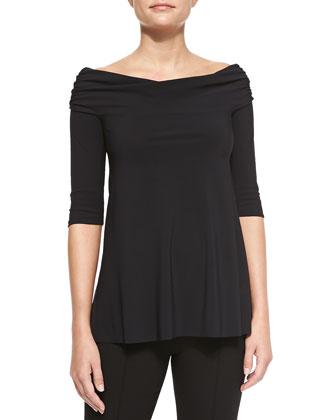 Dianora Off-the-Shoulder Top, Black