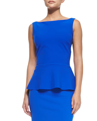 Niky Sleeveless Peplum Top, Cobalt