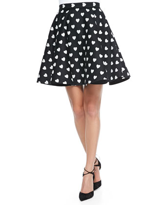 Heart-Print Short Circle Skirt