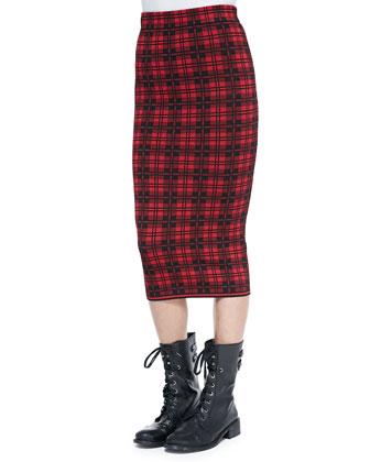 Ronny London Plaid Midi Skirt, Red
