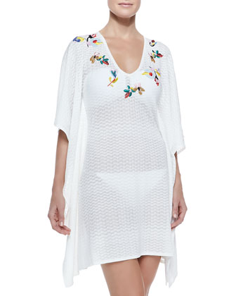 Zigzag-Pattern Embroidered Coverup