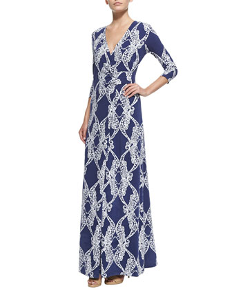 Yvette Printed Faux-Wrap Maxi Dress