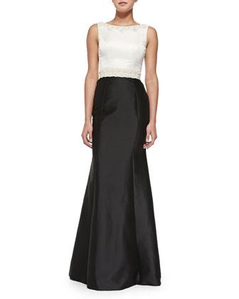 Sleeveless Beaded-Waist Colorblock Gown