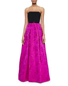Strapless Colorblock Floral-Skirt Gown