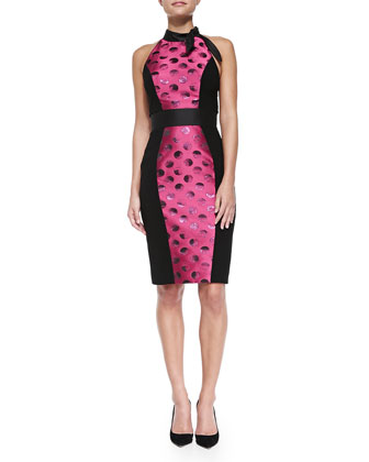 Sleeveless Polka Dot Cocktail Dress