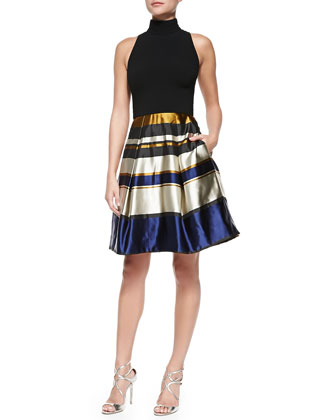 Sleeveless Party Dress W/ Striped Skirt