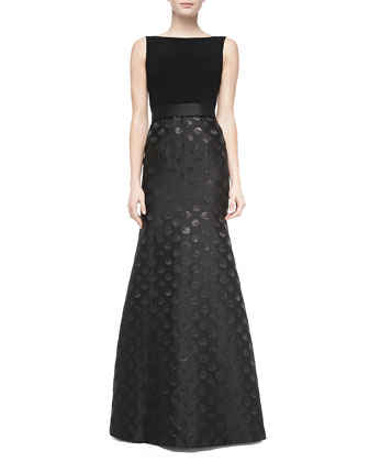Sleeveless Polka Dot-Skirt Mermaid Gown