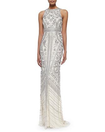 Sleeveless Beaded-Pattern Gown