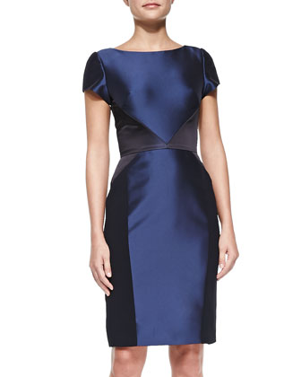 Cap-Sleeve Satin Mixed-Media Sheath Dress