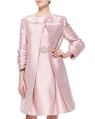 3/4-Sleeve Satin Overcoat & Satin Mixed-Media Sheath Dress