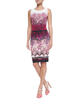 Sleeveless Floral Lace-Print Sheath Dress