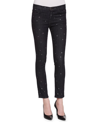 Star-Print Stiletto Skinny Jeans, Washed Black