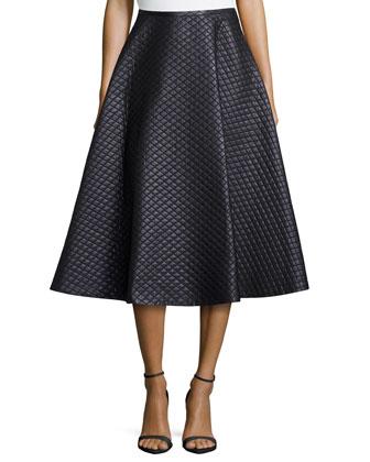 Quilted Bias Circle Skirt, Black