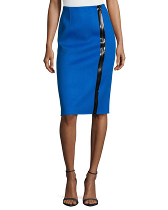 Double-Faced Zip-Front Pencil Skirt, Royal