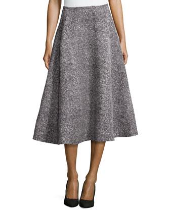 Tweed Bias Circle Midi Skirt