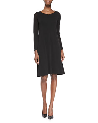 Sheer-Sleeve Silk Jersey Dress, Petite