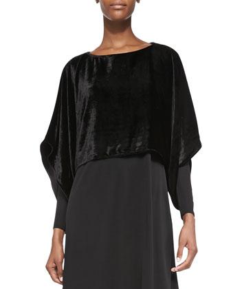 Velvet Kimono Crop Top, Black