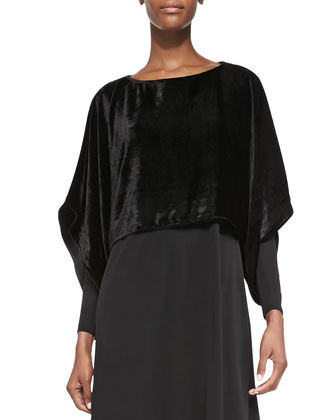 Velvet Kimono Crop Top, Sheer-Sleeve Silk Jersey Dress & Beaded Silk Cord ...